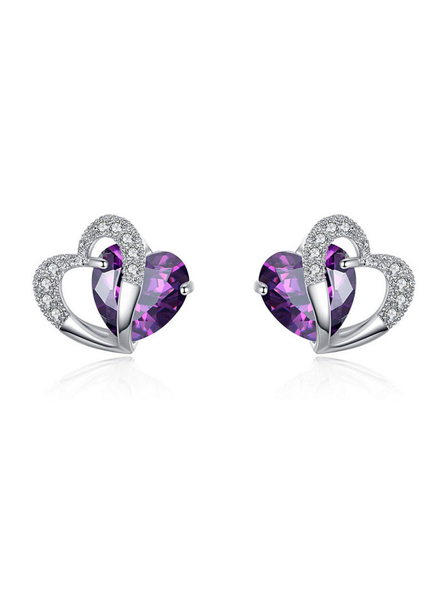Pair Of Alloy Faux Crystal Heart Earring