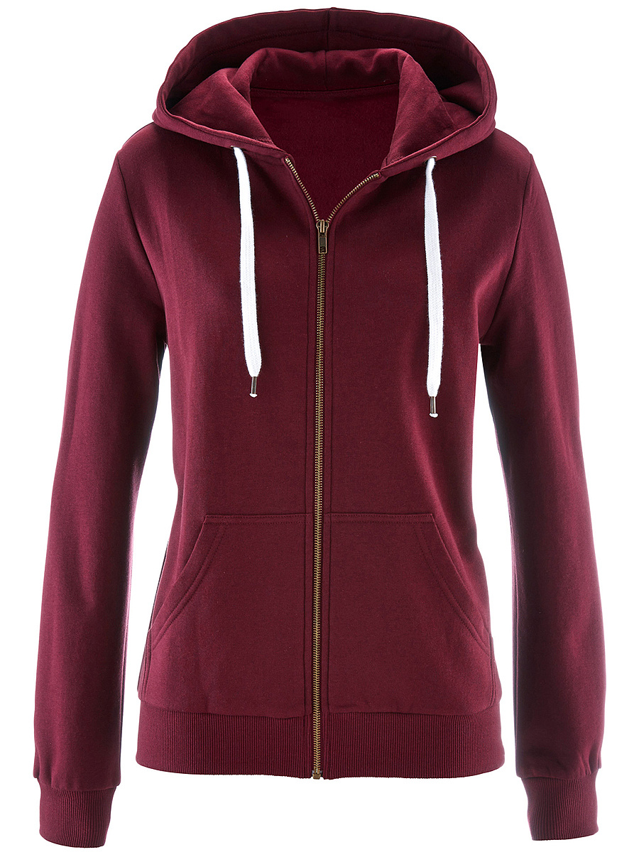 Casual Patch Pocket  Plain Hoodie