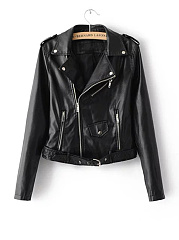 Stylish Lapel  Zips  Plain Faux Leather Biker Jacket