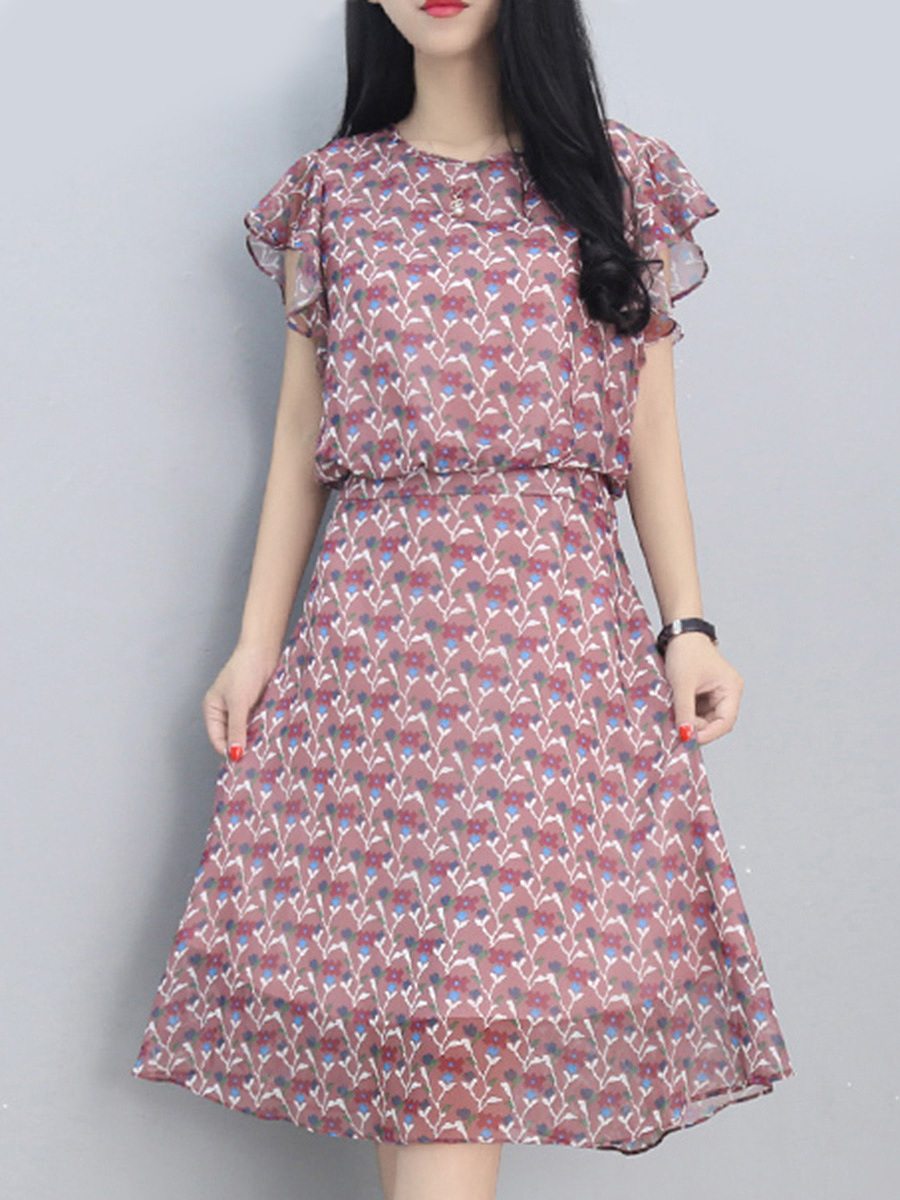 Round Neck Printed Ruffle Sleeve Chiffon Skater Dress