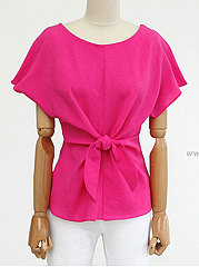 Round Neck  Bowknot  Plain  Short Sleeve Shirts