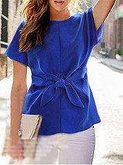 Round-Neck-Bowknot-Plain-Short-Sleeve-Shirts