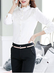 Band Collar  Decorative Lace Single Breasted  Plain  Long Sleeve Blouses