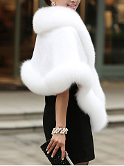 Luxury Faux Fur Collar Cape Sleeve Coat