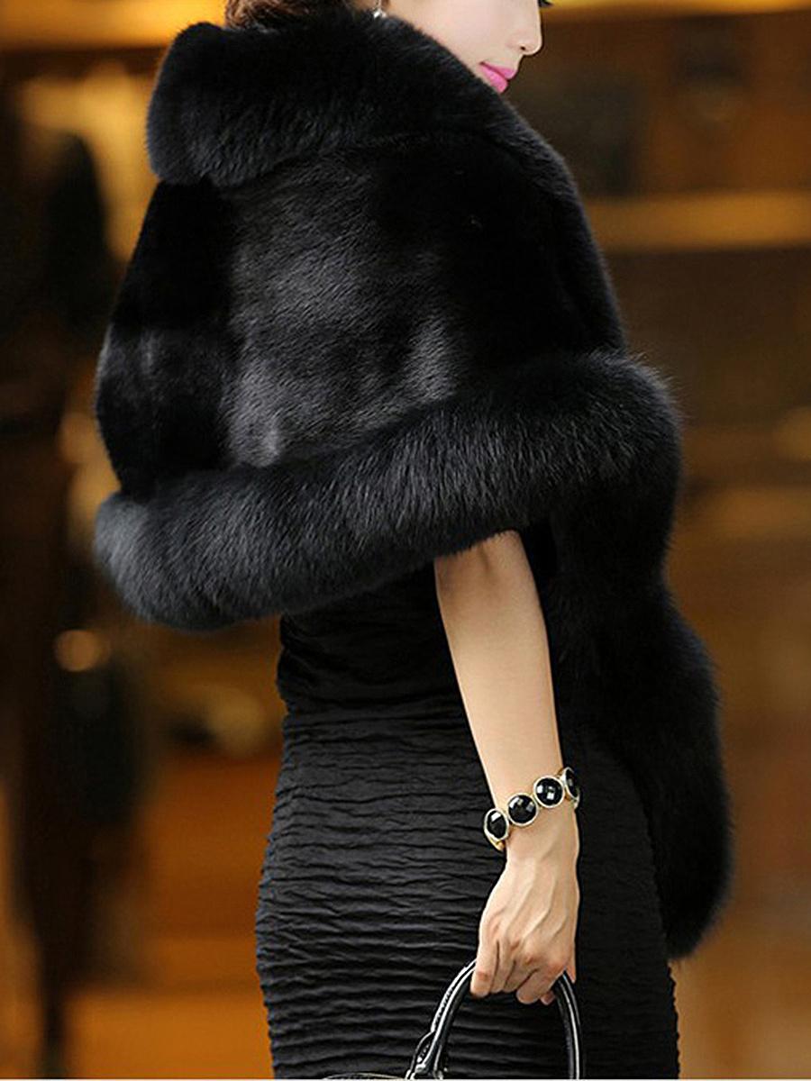 Luxury Faux Fur Collar Cape Sleeve Coat