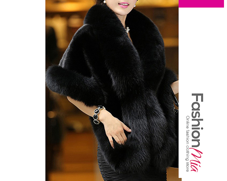 gender:women, hooded:no, thickness:thick, brand_name:fashionmia, outerwear_type:coat, style:elegant,fashion, material:faux fur, collar&neckline:faux fur collar, sleeve_type:cape sleeve, sleeve:half sleeve, pattern_type:plain, supplementary_matters:all dimensions are measured manually with a deviation of 2 to 4cm., occasion:event,party, season:winter, package_included:top*1, length