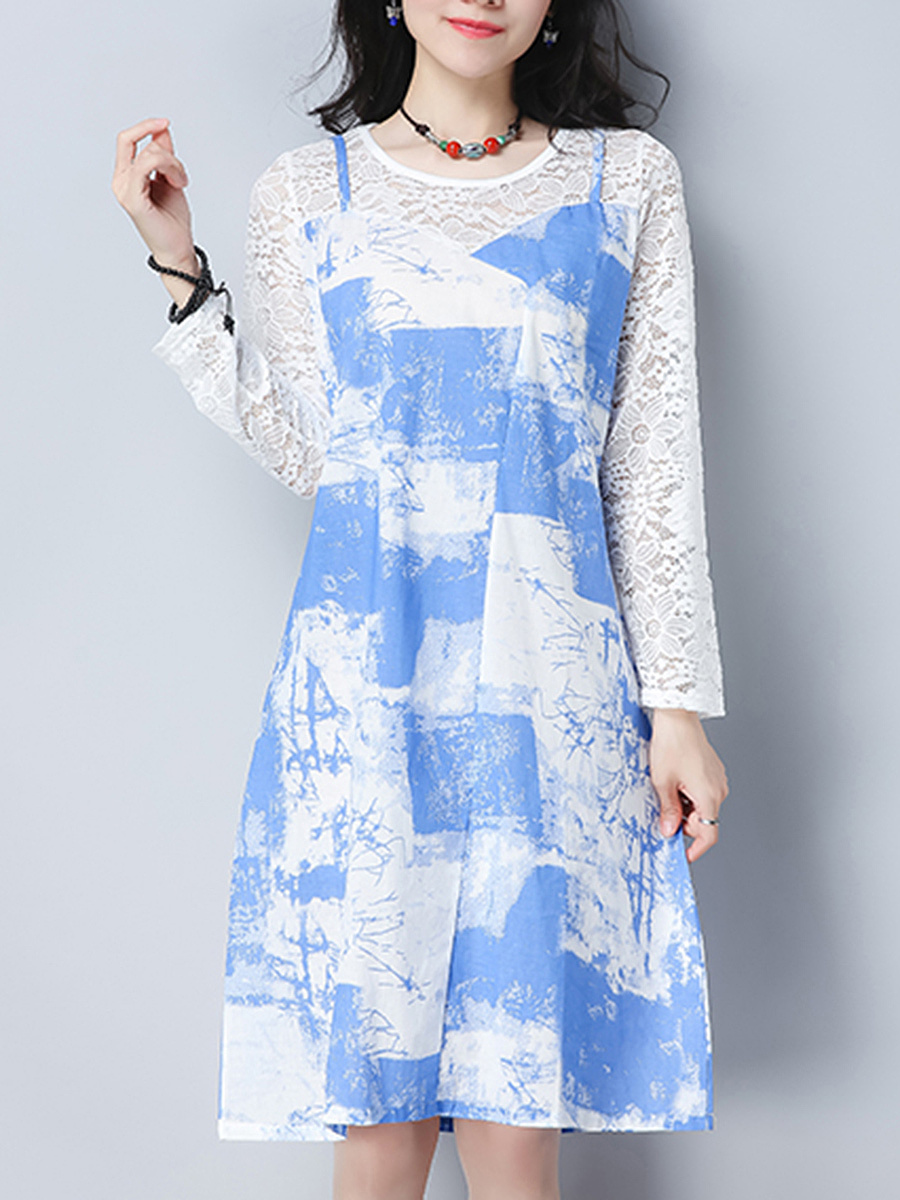 Round Neck Pocket Hollow Out Printed Shift Dress