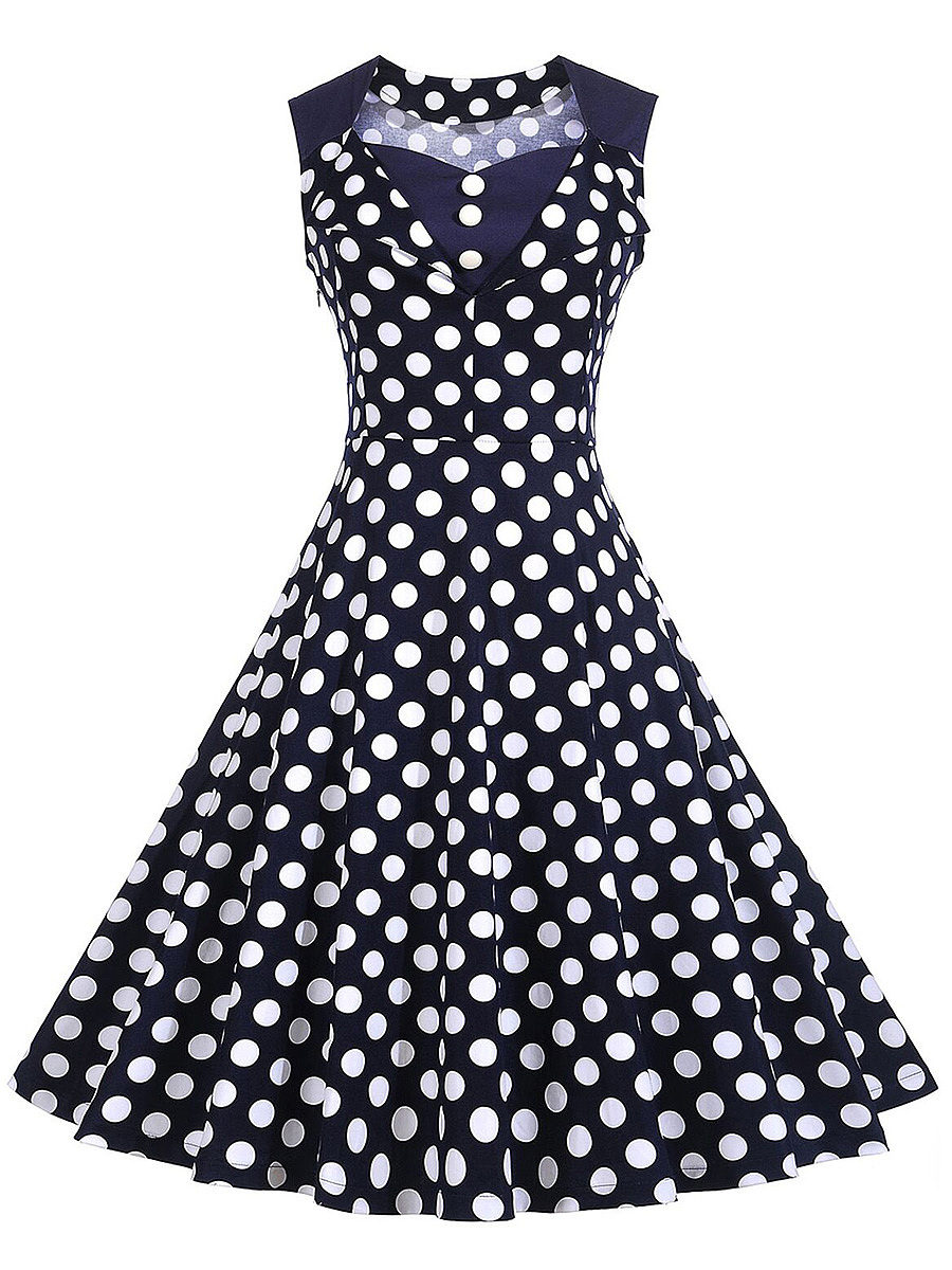 Retro Polka Dot Sweet Heart Skater Dress