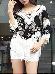 V-Neck Fringe See-Through Crochet Printed Tunic