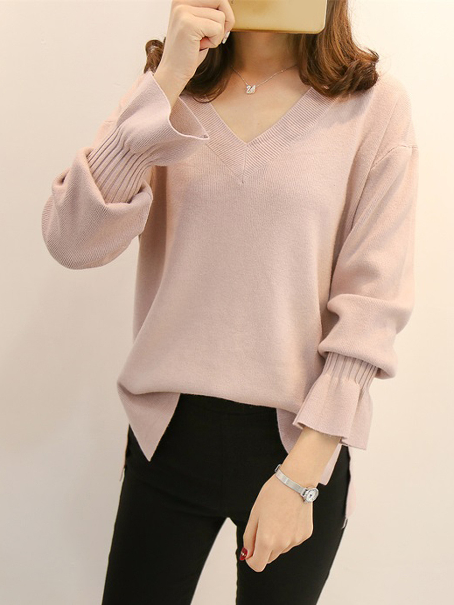 V-Neck  Plain  Bell Sleeve Sweaters