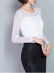 Hot See-Through Plain Round Neck Long Sleeve T-Shirt