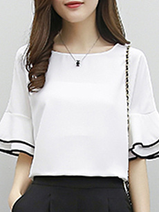 Round Neck  Plain  Bell Sleeve Short Sleeve T-Shirts