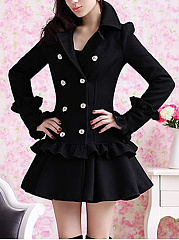 Double Breasted Ruffle Trim Plain Swing Woolen Coat