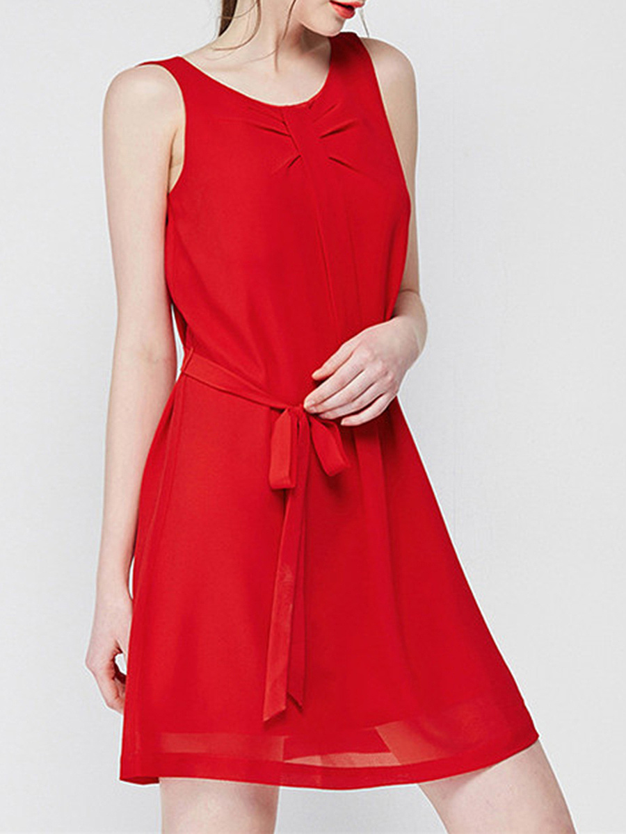 Round Neck Plain Sleeveless Chiffon Shift Dress