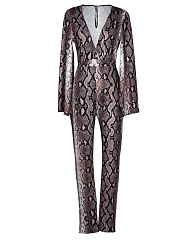 Deep-V-Neck-Snake-Printed-Bell-Sleeve-Slim-Leg-Jumpsuit