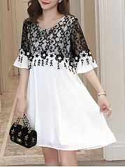 Round Neck  Colouring Lace Skater Dress