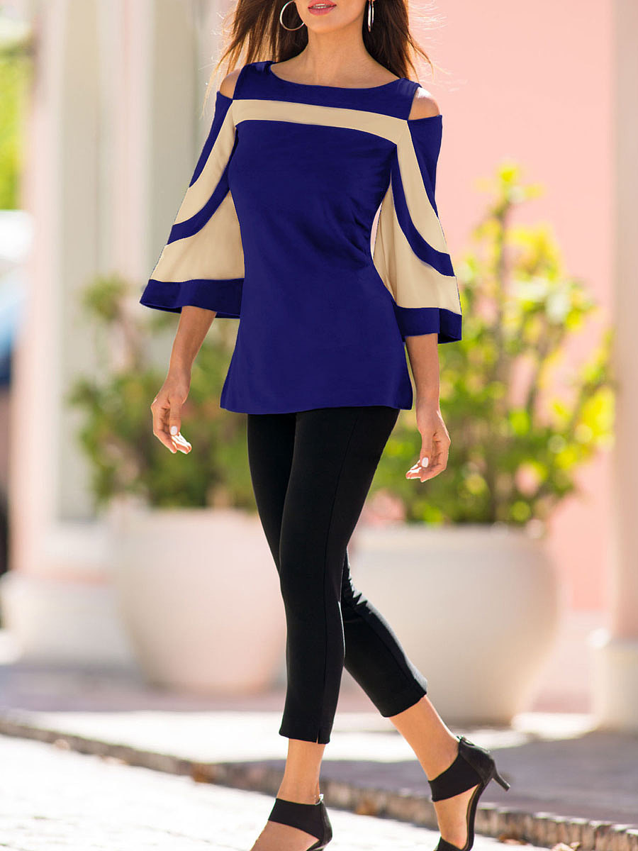 Spring Summer  Polyester  Women  Round Neck  Backless  Striped  Three-Quarter Sleeve Long Sleeve T-Shirts