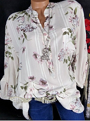 Autumn Spring Summer  Polyester  Women  V-Neck  Floral Printed  Long Sleeve Blouses