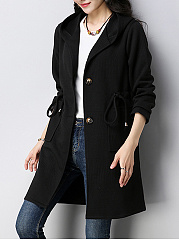 Hooded  Drawstring  Long Sleeve Coats
