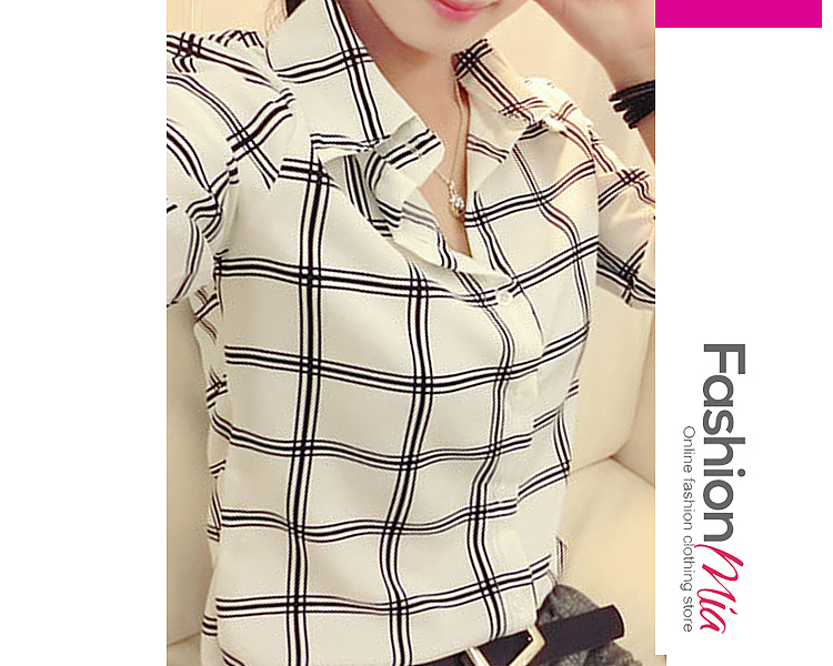 Autumn Spring  Polyester  Women  Turn Down Collar  Plaid  Long Sleeve Blouses