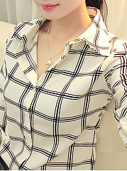 Autumn Spring  Polyester  Women  Turn Down Collar  Plaid  Long Sleeve Blouses