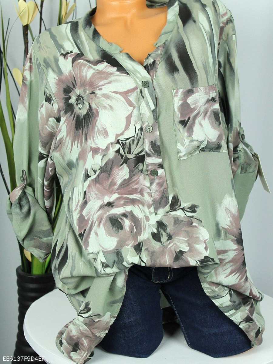 Autumn Spring  Blend  Women  V-Neck  Decorative Button  Floral Printed  Long Sleeve Blouses