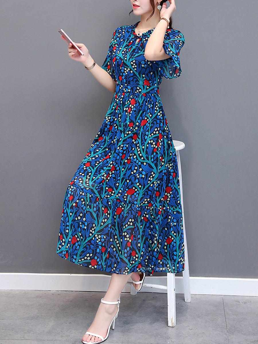 V-Neck  Asymmetric Stripe Printed Maxi Dress
