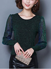 Sparkling See-Through Round Neck Blouse