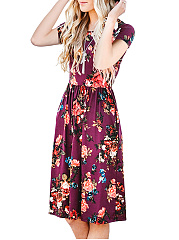 Round Neck Pocket  Floral Printed Skater Dress