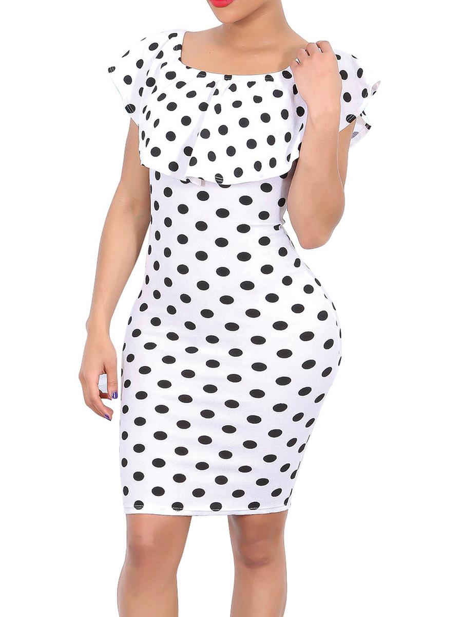 Open Shoulder  Polka Dot Bodycon Dress