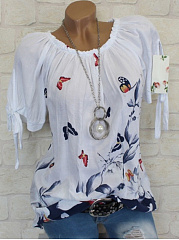 Collarless  Print Short Sleeve T-Shirts
