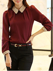 Contrast Doll Collar Chiffon Long Sleeve T-Shirt