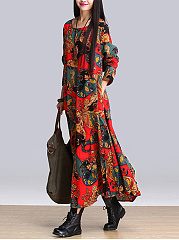 Round Neck Pocket Loose Printed Maxi Dress