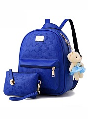 Two Pieces Embossed Pu Backpack Bag