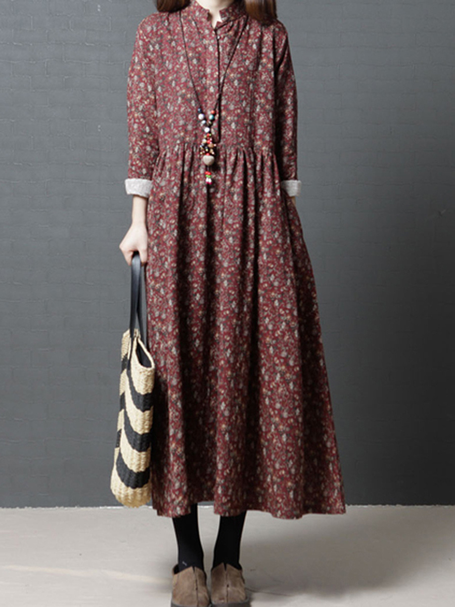Band Collar  Printed  Cotton/Linen Maxi Dress
