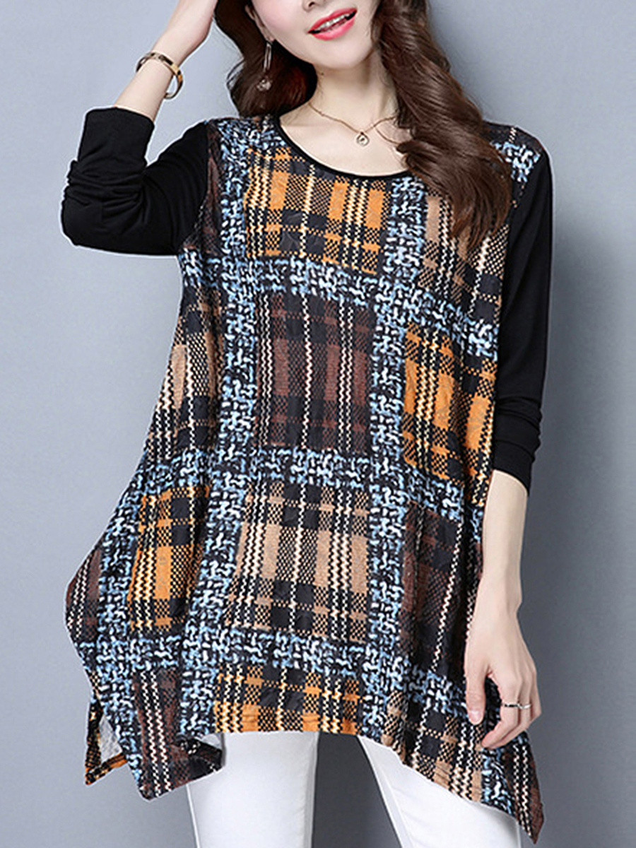 Plaid Asymmetric Hem Round Neck Long Sleeve T-Shirt