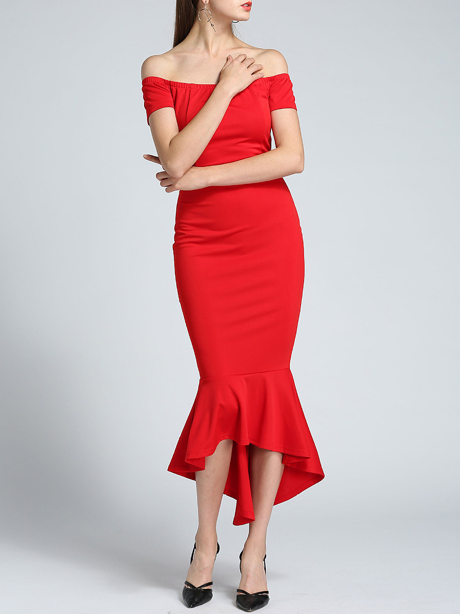 Off Shoulder Plain Mermaid Evening Dress