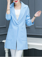 Solid Longline Notch Lapel Patch Pocket Single Button Blazer