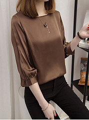 Spring Summer  Polyester  Women  Round Neck  Plain  Three-Quarter Sleeve Long Sleeve T-Shirts
