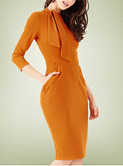 OL Style Tie Collar Solid Bodycon Dress