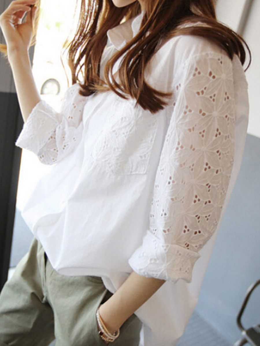 Loose Hollow Out Plain Long Sleeve T-Shirt