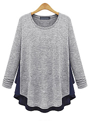 Autumn Spring Winter  Cotton  Women  Round Neck  Asymmetric Hem Patchwork  Plain Long Sleeve T-Shirts