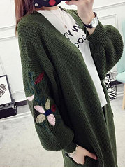 Longline Embroidery Puff Sleeve Cardigan