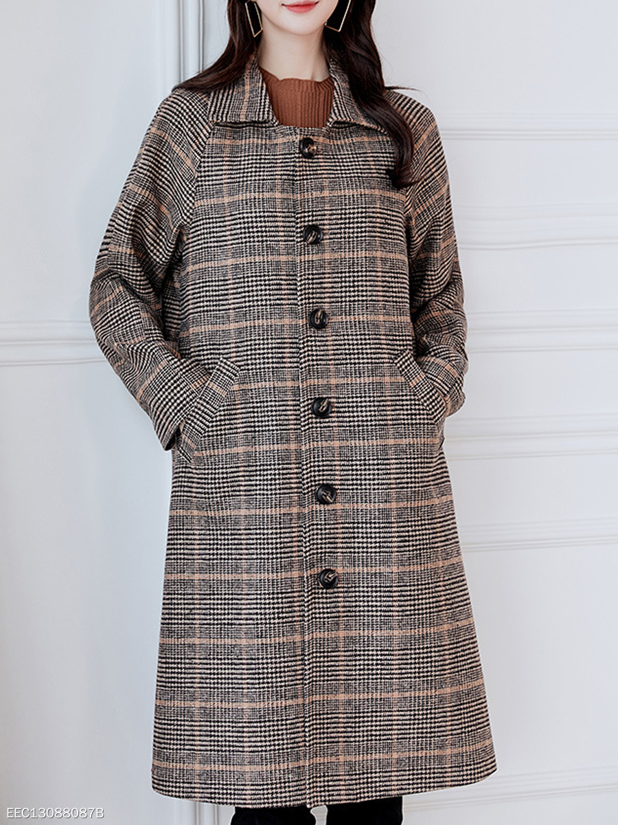 Fold-Over Collar  Single Breasted  Plaid  Long Sleeve Coats