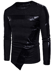 Men-Patchwork-Asymmetric-Hem-Plain-Sweater