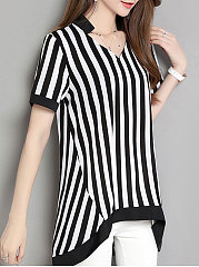 Spring Summer  Polyester  Women  V-Neck  Striped  Short Sleeve Blouses