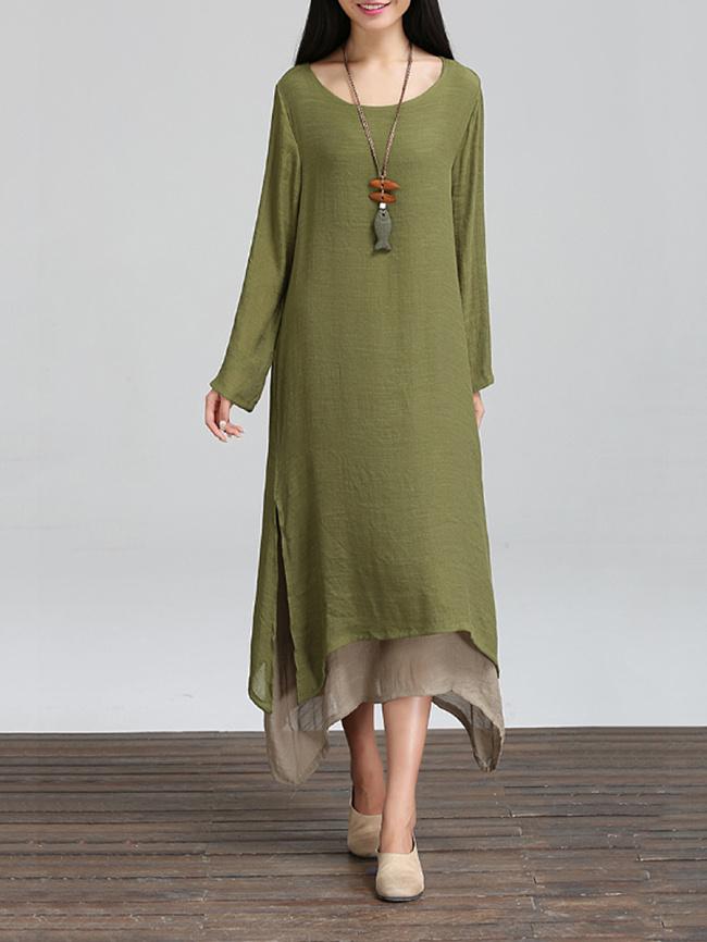 Image of Fashionmia Casual Asymmetric Hem Color Block Maxi Dress
