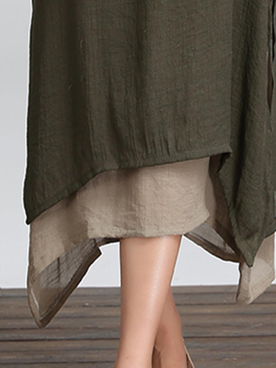 Casual Asymmetric Hem Color Block Maxi Dress