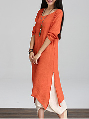 Casual Asymmetric Hem Color Block Maxi Dress