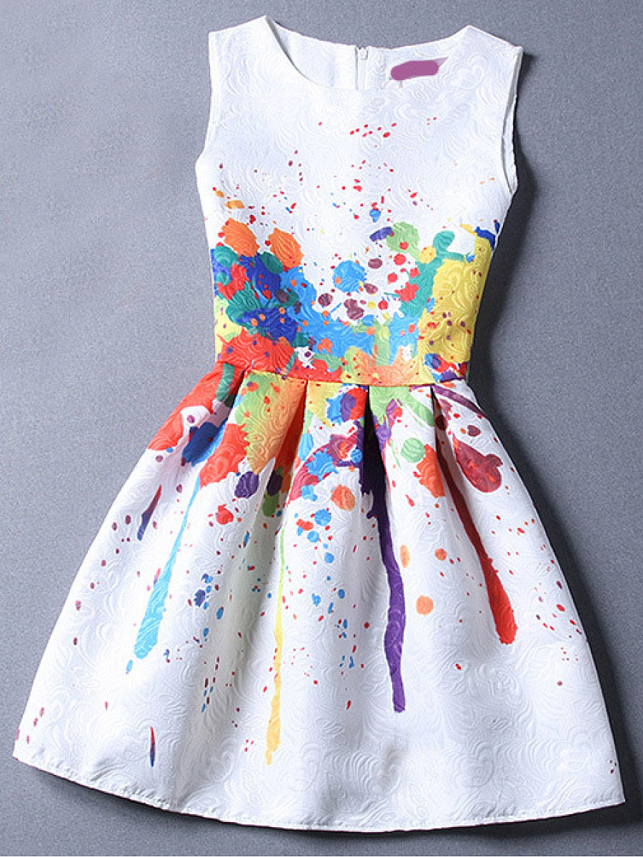 Round Neck Multi-Color Printed Skater Dress